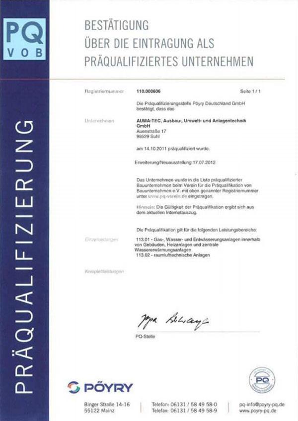 Präqualifikation (Reg.-Nr. 110.000.606)