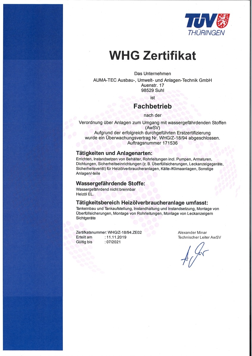 Fachbetrieb nach Wasserhaushaltsgesetz (WHG)